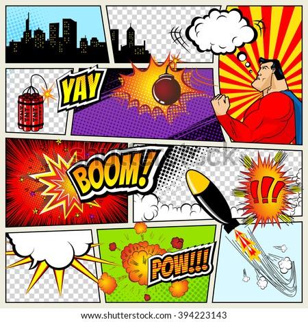 Comic Template   Comics Template Vector Retro Comic Book Stock Vektorgrafik