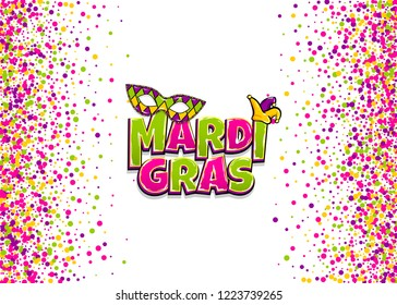 Comics text mask isolated. Colored shimmer random falling. Mardi Gras - Fat Tuesday carnival carnival French-speaking country. Comic book cartoon vector illustration pop art isolated background