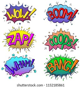 Comics text sound effects. Bubble speech phrases Boom, Wow, Zap, Oops, Wham, Bang. Vector illustration