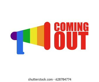 Coming out LGBT sign. Icon social network. Rainbow megaphone. Symbol Recognition of belonging to sexual or gender minority. Lesbians and gays