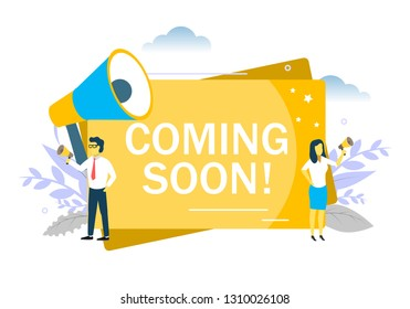Coming soon announcement, business people speaking through megaphone. Vector flat style design illustration for web banner, website page etc.
