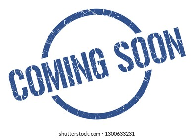 coming soon blue round stamp
