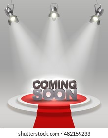 Coming soon colored composition on stage with red carpet that spotlights illuminate vector illustration