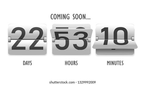 Coming soon, countdown, mechanical scoreboard style digits, numeral, time, show days, hours and minute vector illustration