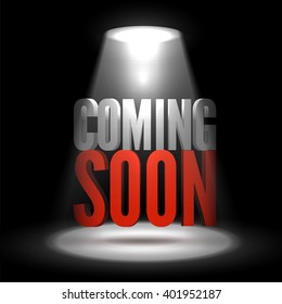 Coming soon floating in stage limelight on dark background. Vector scene illuminated spotlight. Stage light background vector. Show coming soon in scene light. Bright beam highlights important message