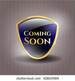 Coming Soon gold shiny emblem