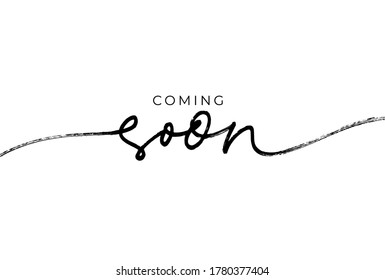 Coming soon ink brush vector lettering. Promotion or announcement banner. Modern vector calligraphy. Black paint lettering isolated on white background. Design text element, web banner, print.