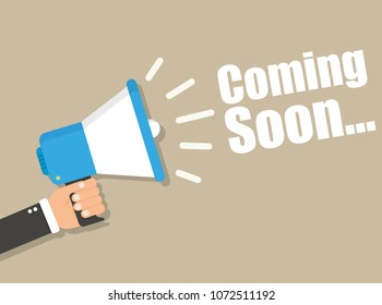 Coming Soon megaphone banner. Promotion and advertising concept