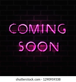 coming soon neon glowing banner on black brick wall concept realistic vector illustration