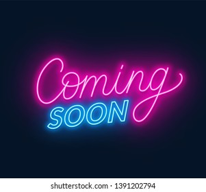 Coming soon neon sign on black background.
