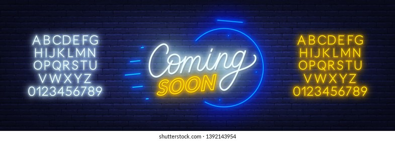 Coming soon neon sign on brick wall background. Template for design. Neon alphabet .