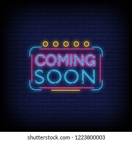 Coming Soon Neon Sign Vector a brick wall background vector, design element, light banner, announcement neon signboard, night neon advensing. Vector Illustration