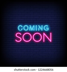 Coming Soon Neon Sign Vector a brick wall background vector  design element  light banner  announcement neon signboard  night neon advensing. Vector Illustration