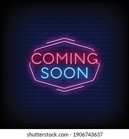 Coming Soon Neon Signs Style Text Vector