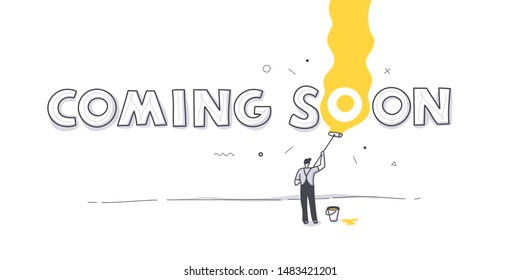 Coming soon page concept with a man painting wall with roller. Minimalist hand drawn doodle background illustration with handwritten text