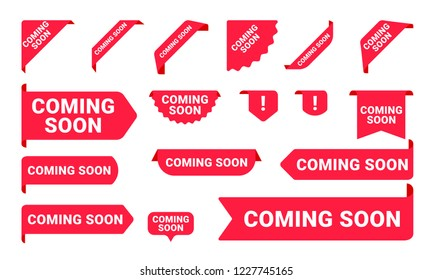 Coming Soon promo banners, stickers and tag labels. Vector isolated red pink shop or store banners and ribbon signs
