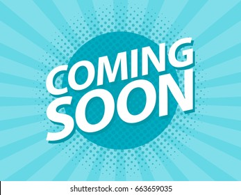 Coming Soon retro vintage poster. Promotion flyer template vector illustration.