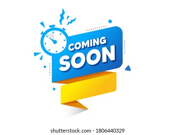 Coming soon ribbon banner with timer icon. Quality web element. Announcement bubble for promotion. Coming soon countdown time for new open. New arrival button. Promo release banner vector