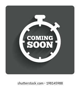Coming soon sign icon. Promotion announcement symbol. Gray flat button with shadow. Modern UI website navigation. Vector