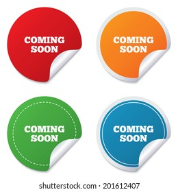 Coming soon sign icon. Promotion announcement symbol. Round stickers. Circle labels with shadows. Curved corner. Vector