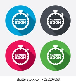Coming soon sign icon. Promotion announcement symbol. Circle buttons with long shadow. 4 icons set. Vector