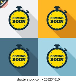 Coming soon sign icon. Promotion announcement symbol. Four squares. Colored Flat design buttons. Vector