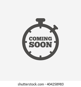 Coming soon sign icon. Promotion announcement symbol. Flat icon on white background. Vector