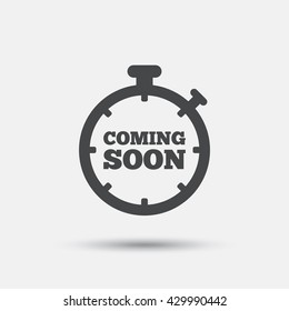 Coming soon sign icon. Promotion announcement symbol. Flat coming soon web icon on white background. Vector