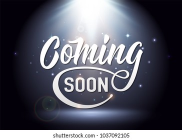 Coming soon sign. Promotion announcement banner with light white text, shine particles on spotlight mystery background. Vector illustration