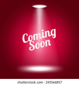 Coming soon stage lit with lights on red background Vector illustration.