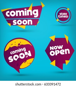 Coming Soon and stay tuned labels with creative shape on blue background. Now Open