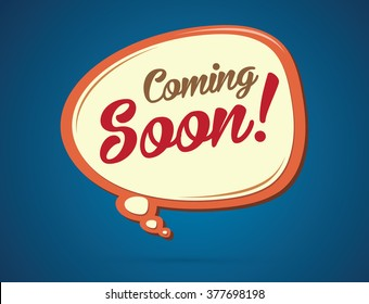 Coming soon text in balloons graphic vector.