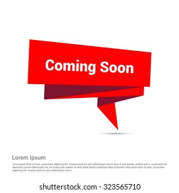 Coming Soon Text Realistic Red Origami banner