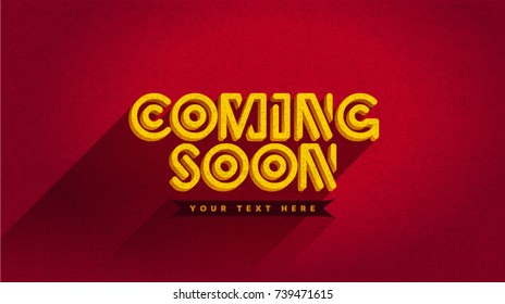 Coming Soon trendy banner, web page template, poster on red background texture for web site. Cartoon effect. Easy editable for Your design.