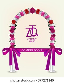 Coming soon vector illustaration with frame of flowers, columns and long ribbon