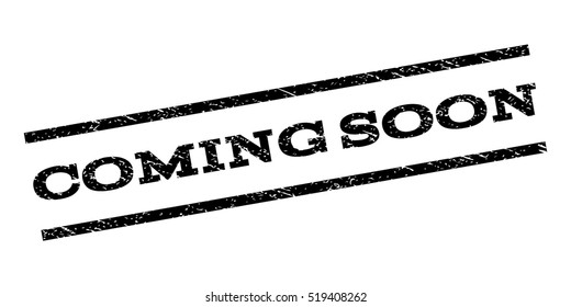 Coming Soon watermark stamp. Text caption between parallel lines with grunge design style. Rubber seal stamp with dirty texture. Vector black color ink imprint on a white background.