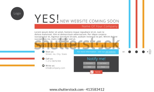 Coming Soon Webpage Flat Design Colorful Stock Vector (Royalty Free