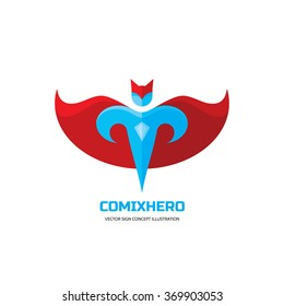 Comix hero - vector logo template concept in flat style. People insignia. Hero sign. Super symbol. Flying man icon. Human character illustration. Design element.