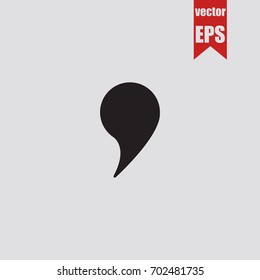 Comma icon in trendy isolated on grey background.Vector illustration.