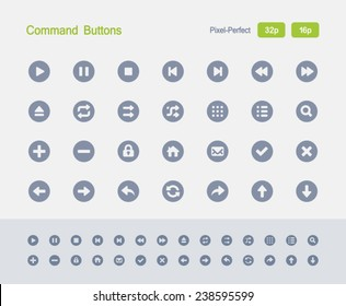 Command Buttons. Granite Icon Series. Simple glyph style icons optimized for two sizes.