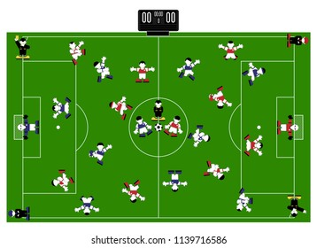 Command. Players on the soccer field