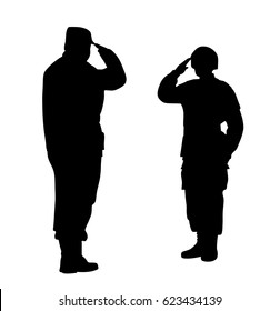 Commander and soldier salute each other