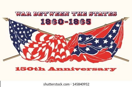 Commemorating the 150th Anniversary of the U.S.Civil War: flags of the North and South