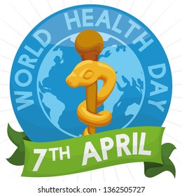 Commemorative button with golden Asclepius staff and ribbon with reminder date to celebrate World Health Day this April 7.