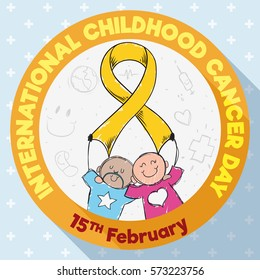Commemorative design in flat style with round button with cute couple of children holding a golden ribbon: symbol of the fight against Childhood Cancer and commemorating its day in February 15.
