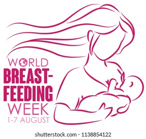 Commemorative design in outline style for World Breastfeeding Week: loving long haired mom holding her baby and breastfeeding.