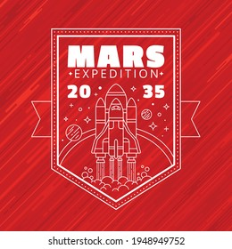 Commemorative line style vector patch expedition to mars.