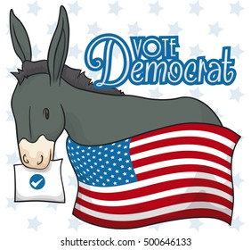 Commemorative poster for American elections with cute Democrat donkey behind an American flag and holding with its mouth the ballot paper on starry background.