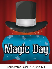 Commemorative poster for Magic Day with a performance of a magic trick in the stage: the fabulous floating magic hat over starry tablecloth.