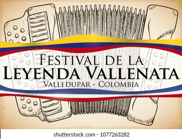 Commemorative poster for Vallenato Legend Festival (written in Spanish) with accordion in hand drawn style over scroll and sign with Colombia and Valledupar flags like ribbons.